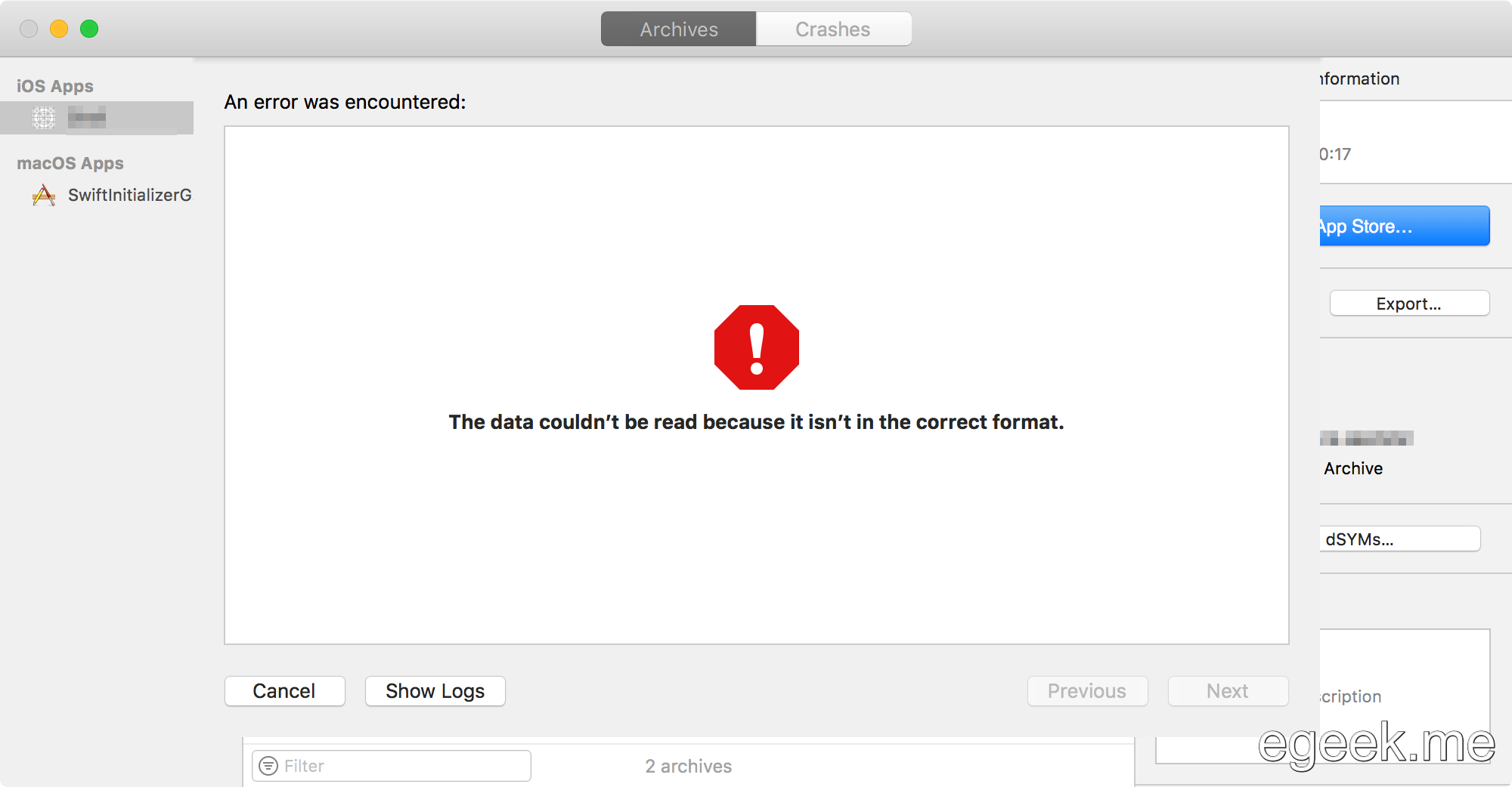 """The data couldn't be read because it isn't in the correct format."" Xcode error"